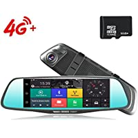 4G Car Dash Cam 8.0 Touch GPS Navigation WIFI Bluetooth Dual Lens Rearview Mirror Camera Android 5.1 Vehicle Video Recorder with Night Vision, 170-degree Wide Angle Lens with G-Senor (16G SD)