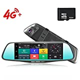 4G Car Dash Cam 8.0'' Touch GPS Navigation WIFI Bluetooth Dual Lens Rearview Mirror Camera Android 5.1 Vehicle Video Recorder with Night Vision, 170-degree Wide Angle Lens with G-Senor (16G SD)