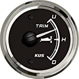 KUS Boat Yacht Trim Gauge Marine Trim Tilt Indicator for Outboard Engine 52mm 12/24V Black
