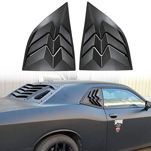 E-cowlboy for 2008-2019 Dodge Challenger Side Window Scoop Louvers, ABS Window Visor Cover, Sun Rain Shade Vent Matte Black