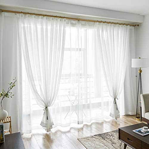 Princess Wind Blackout Curtain,Sheer Curtains,Easy to Wash Prevent Sunlight for Floor to Ceiling Bay Window Bedroom(1 Curtain)-White 200x200cm(79x79inch) ()