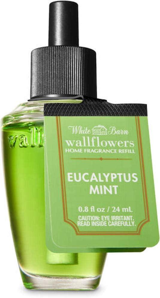 White Barn Candle Company Bath and Body Works Wall Flowers Home Fragrance Refill .8 fl oz - Eucalyptus Mint (Fresh Eucalyptus, Sweet Spearmint, Clary Sage with Essential Oils)