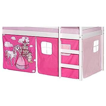 IDIMEX Lot De Rideaux Cabane Pour Lit Surélevé Superposé MiHauteur - Lit cabane rose