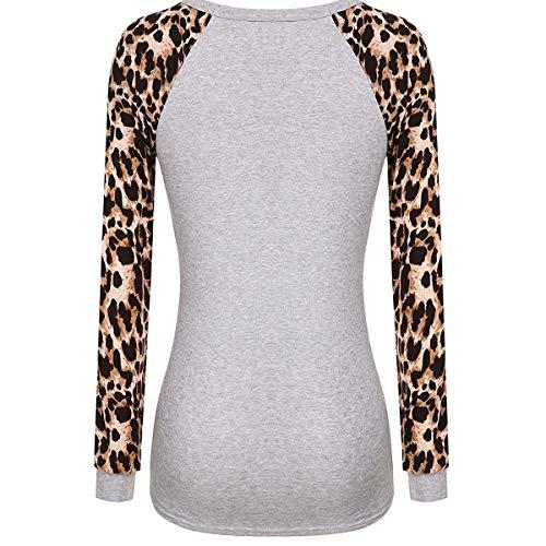 Con De Y Estampado Camisetas Manga Leopardo Larga Grey Redondo Cuello qtWn1wdO1P