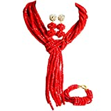 laanc Lady Necklace Bracelet Earrings Opaque Red Nigerian Wedding Manual African Beads Jewelry Set