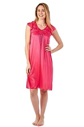 Womens Sleepwear Nightdress Cap Sleeve Dress Silky Nightgown At