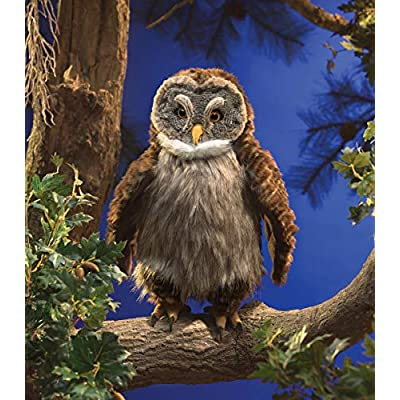 Folkmanis 3135 Hooting Owl Hand Puppet, One Size, Multicolor: Toys & Games