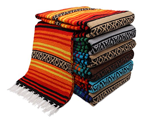 "El Paso Designs Peyote Hippie Blanket Classic Mexican Style Falsa Stripe Pattern in Vivid Peyote Colors. Throw, Bed, Tapestry, or Yoga Blanket. Hand Woven Acrylic, 57"" x 74"""
