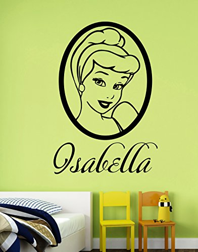 Personalized Name Cinderella Wall Sticker Custom Decal Disney Princess Vinyl Art Decorations for Home Kids Girls Room Bedroom Nursery Decor (Female Cartoon Characters Names)