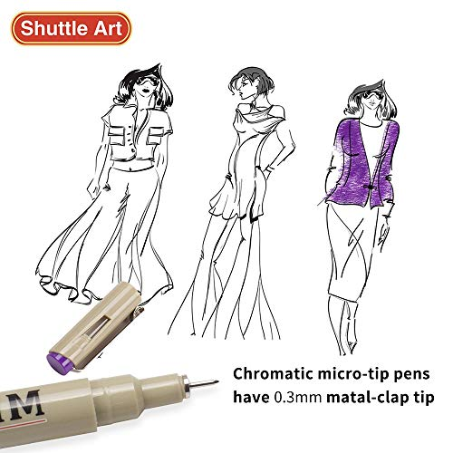 Shuttle Art 18 Pack Ultra Fine Point Tip Micro Line Pens - Waterproof Archival Ink & 11 Colors in 0.3MM Felt Tip - 7 Blacks in Tip Sizes 0.15MM to 0.5MM For Journaling Technical Illustrating Drawing by Shuttle Art (Image #5)
