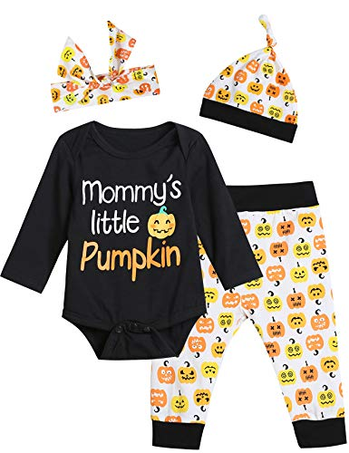 (Baby Boys Girls 4PCS Halloween Outfit Sets Mommy's Little Pumpkin Long Sleeve Bodysuit (0-3 Months))