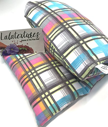summer-sale-large-microwavable-heating-pad-lavender-pastel-plaid-the-flax-sak-hot-cold-pack-with-rem