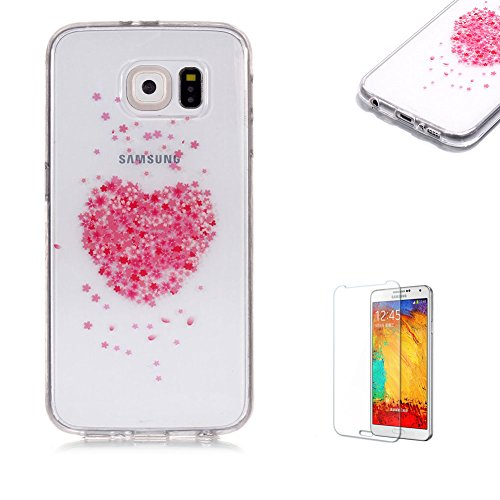 Funyye Transparent Rubber Case for Samsung Galaxy S6,Stylish Love Heart Sakura Pattern Slim Fit Flexible Soft Silicone Gel TPU Case Non Slip Durable Bumper Back Protective Case for Samsung Galaxy ()