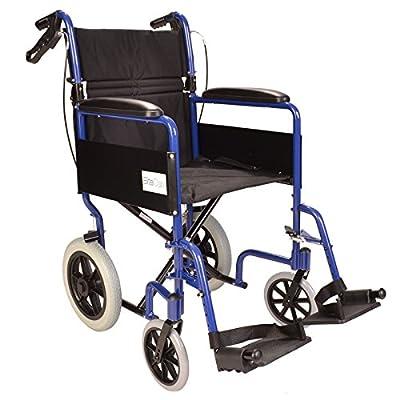 Elite Care Lightweight Aluminium Folding Transport Travel Wheelchair with Handbrakes - Weighs Only 24lbs ECTR01