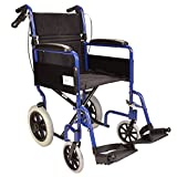 Elite Care Lightweight Aluminium Folding Transport Travel Wheelchair with Handbrakes - Weighs Only 24lbs ECTR01