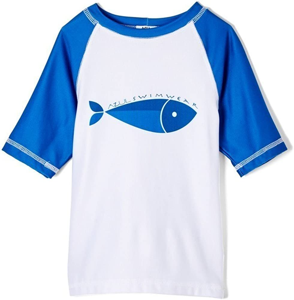 Azul Baby Boys Blue Here Fishy Fishy Print Short Sleeve Rash Guard 12-24M
