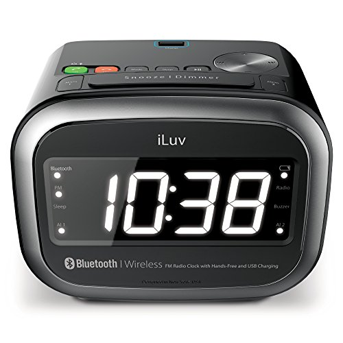 iLuv Jumbo 1.4 inch LED Display Dual Alarm Clock with BT Speaker for Music, FM Radio, Hands-Free, 5 Level Dimmer, Snooze, USB Charging Port for iPhone, Samsung Galaxy, Other BT Device, MP3 and More