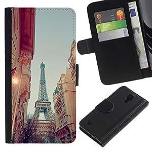 For Samsung Galaxy S4 IV I9500 Case , Eiffel Street View Sky Evening - la tarjeta de Crédito Slots PU Funda de cuero Monedero caso cubierta de piel