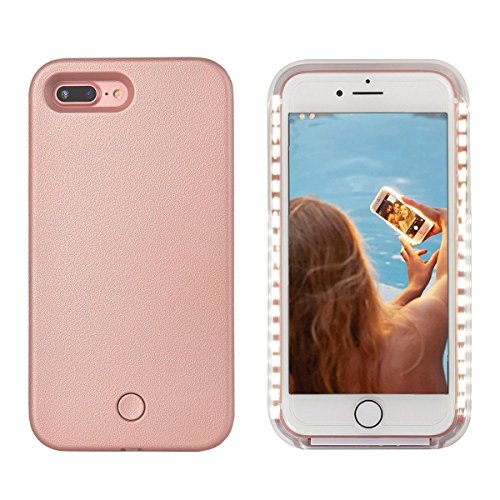 iPhone 8 Plus Led Case - Avkkey iPhone 8 Plus Selfie Light iPhone Case Great for a Bright Selfie and Facetime Illuminated Light Up Case Cover for iPhone 7 Plus 5.5'' - Rose Gold (Light Up Phone Case Iphone 7 Plus)