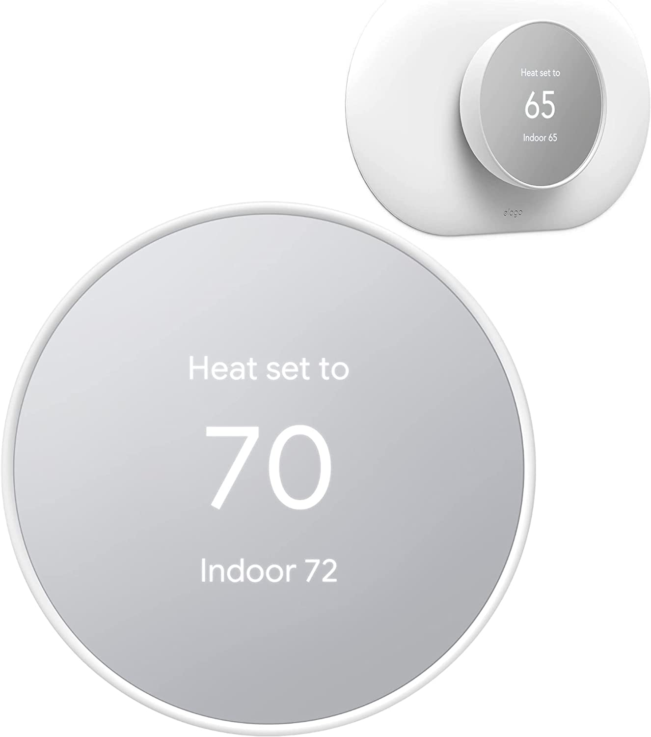 Google Nest Thermostat - Smart Thermostat for Home - Programmable WiFi Thermostat - Snow - GA01334-US Bundle with elago Wall Plate Cover Plus Compatible with Google Nest Thermostat - White