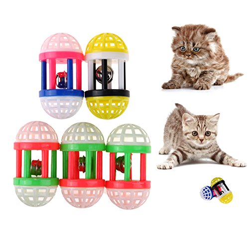 s Babble Ball, Pet Dog Cat Training Sound Toy Colorful Plastic Chew Dumbbell Bell by, 5pcs (Animal Sounds Babble Ball)