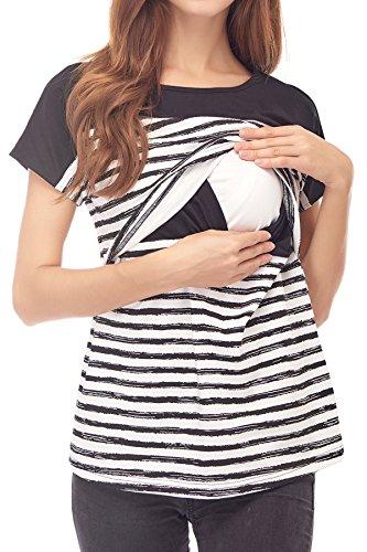 Smallshow Women's Maternity Nursing Tops Breastfeeding T-Shirt Large Black by Smallshow (Image #2)