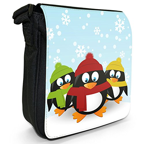 Warm Wrapped Bag Canvas Black Up Small Penguins Shoulder Christmas Size Holiday Season 3 w4R6qHnxf7