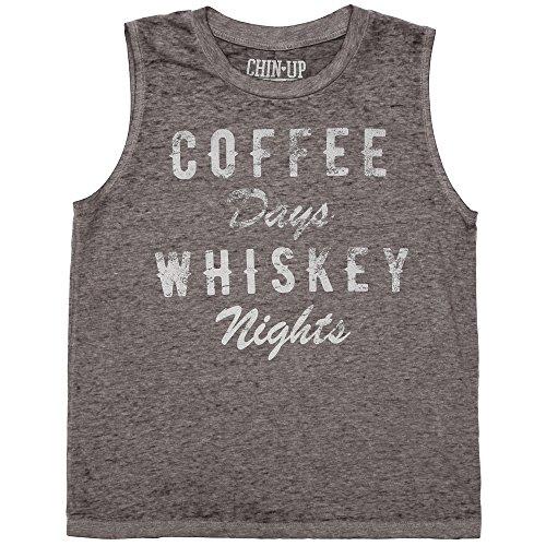 Chin Up Coffee Days Whiskey Nights Junior Muscle Tank Top - Grey (Medium)