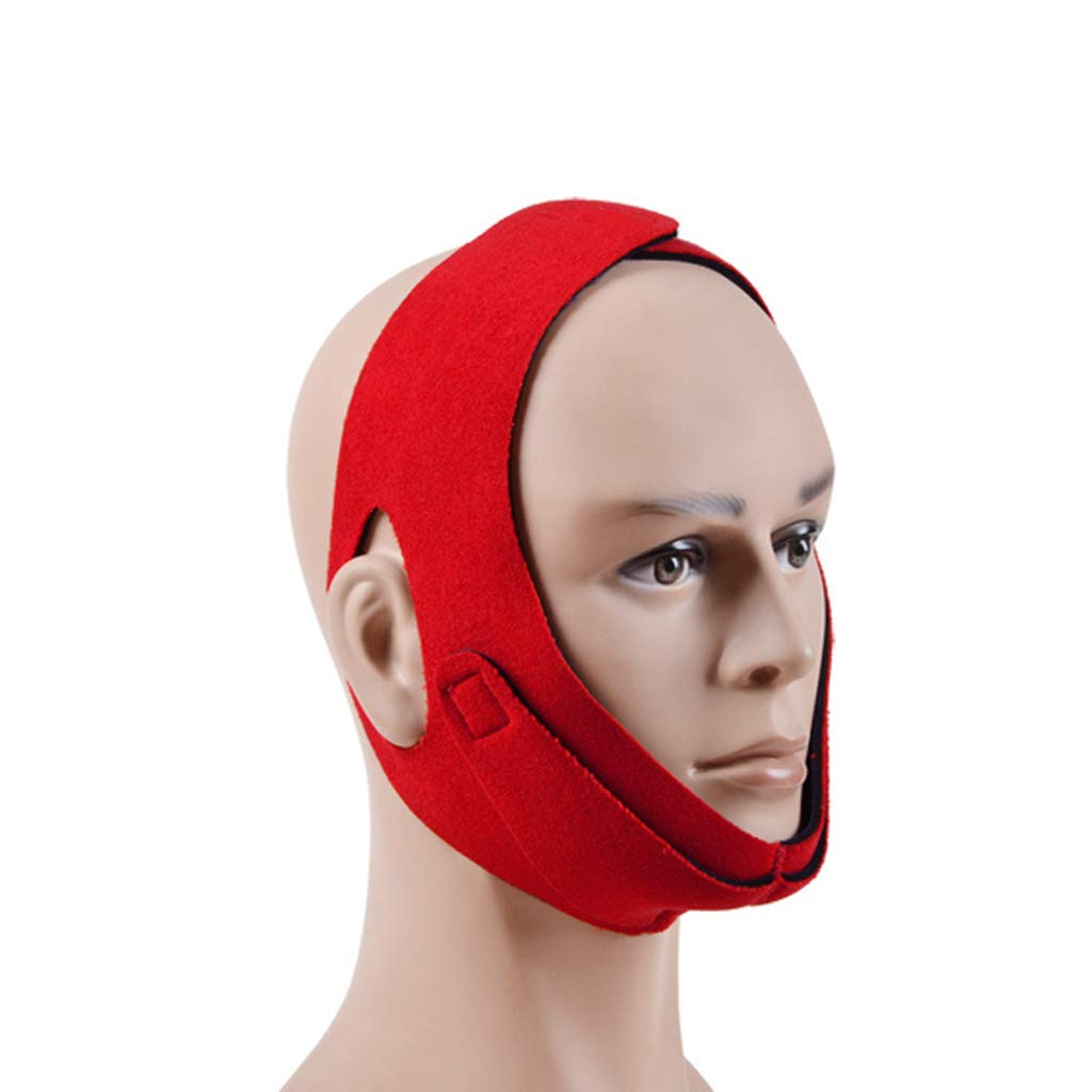 Haitao Small Mall Chin Strap, No Brain Pad Design, Open Ears, Face-Lifting,Average Code, Stop Device, Suitable for Men, Women to Breathe, Snoring,Red,Averagesize