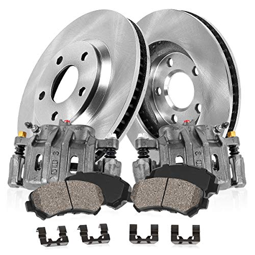 FRONT OE [2] Calipers + [2] Premium OE Rotors + Quiet Low Dust [4] Ceramic Pads Kit