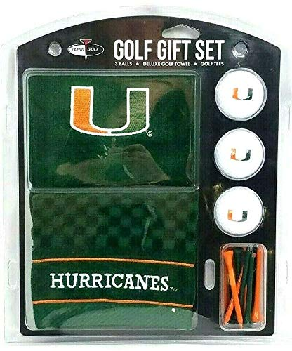 Team Golf Miami Hurricanes Gift Set- Towel, 3Balls, 12 Tees