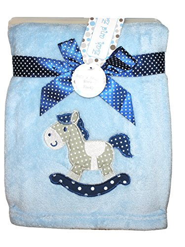 - Zak & Zoey Ultra Soft Embossed Plush with Applique Baby Blanket (Rocking Horse Blue)