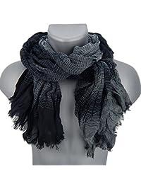 Ella Jonte mens scarf black grey stripes