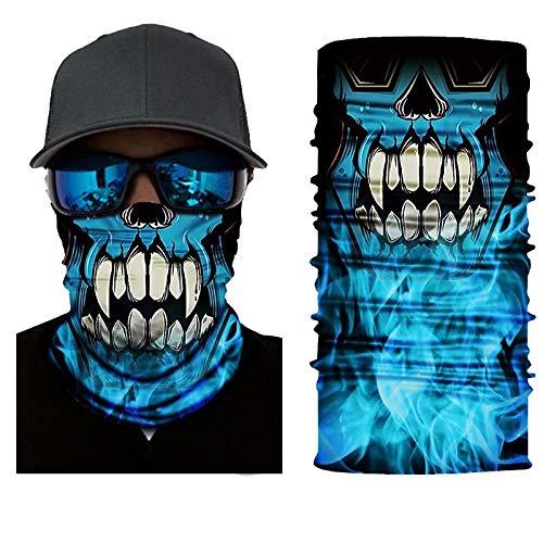 3D Skull Face Mask Sun Dust Protection,Seamless Bandana Skeleton Face Shield