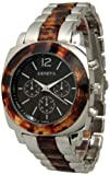 328 Geneva Silver w/ Tortoise Shell Look Accented Chronograph Analog Watch, Watch Central