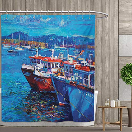 (Country Shower Curtain Collection by Sail Boats Ships on The Shore Harbor by The Sea Small Rural Fishing Town Artwork Patterned Shower Curtain 54