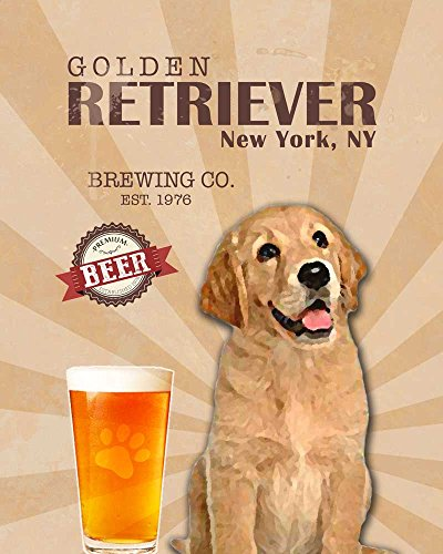 Golden Retriever Brewing Co. Vintage Dog Poster Print 11x14 - Customizable City and State- Please email directly after purchase