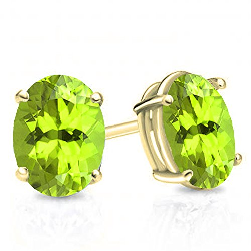 (Dazzlingrock Collection 18K 7X5 MM Each Oval Peridot Ladies Solitaire Stud Earrings, Yellow Gold)