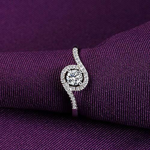 (Tomikko 2ct Round Cut Engagement CZ Winding Band 925 Silver Girls Wedding Ring Size 4-9 | Model RNG - 25259 | 5,5)
