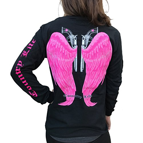 Country Life Guns and Angel Wings Black and Pink Long Sleeve Shirt