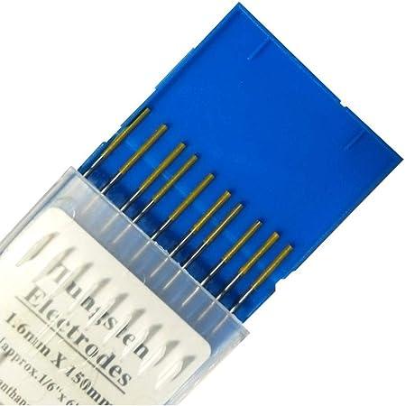 "10-Pack TIG Welding Tungsten Electrodes 1.5/% Lanthanated 1//16/"" x 7/"" Gold, WL15"