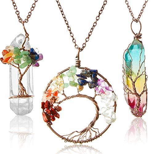 3 Pieces Tree Life Pendant Tree Life Quartz Crystal Pendant Necklace Chakra Gemstone Copper Wire Wrap Necklace (Warm Style)