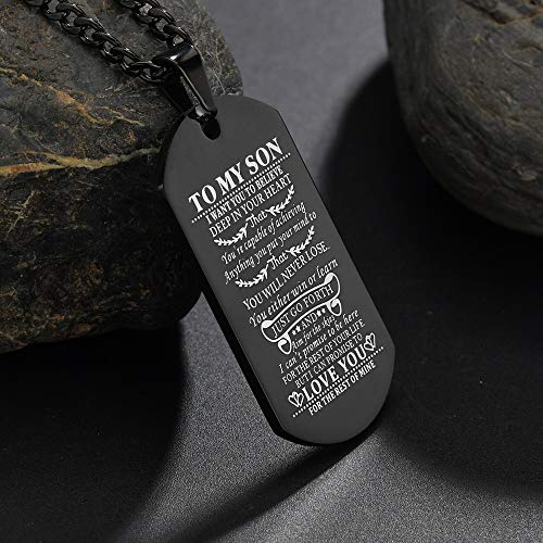 CALIS Dog Tags for Men Engraved I Want You to Believe Deep in Your Heart Love Dad Dog Tag