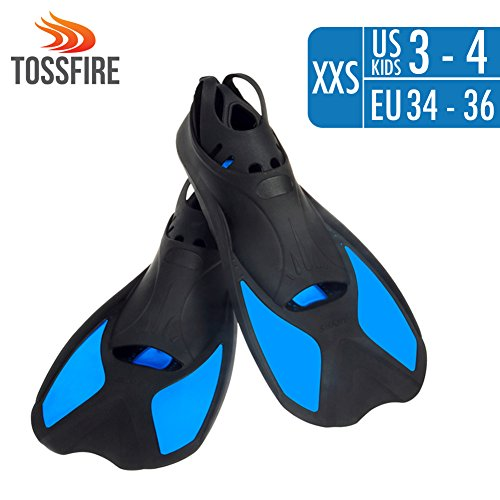 Lightweight Kids Diving Fins Short Floating Training Swimming Fins for Children Boy and Girls US size 3-4 with Thermoplastic Rubber Pool Flippers Fins for Swimming Diving Snorkeling Watersports – - Rubber Flippers