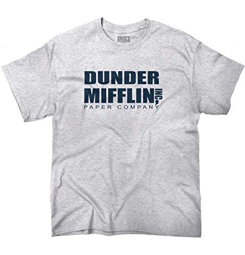 Brisco Brands Dunder Paper Company Mifflin Office TV Show T Shirt Tee Ash Grey - Ash Grey T-shirt Others
