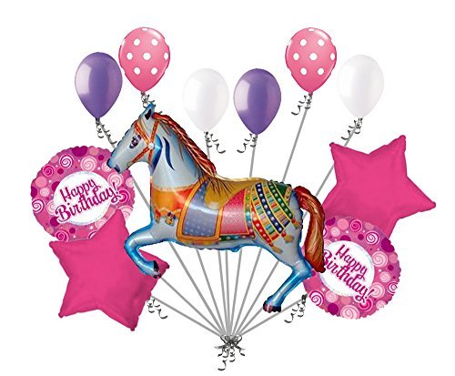 11 pc Decorative Carousel Horse Balloon Bouquet Happy Birthday Circus Carnival (Carousel Decorative)