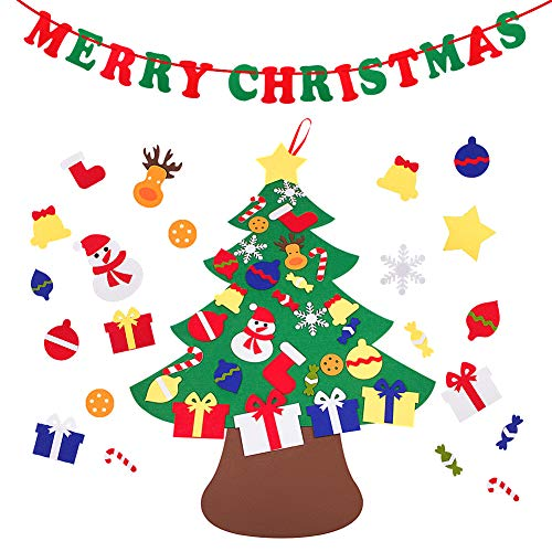 Fabric Christmas Merry (Bajotien DIY Felt Christmas Tree, 29 Pcs Detachable Ornaments Wall Hanging Xmas Tree Decoration with Merry Christmas Banner for Kids Xmas Gift)
