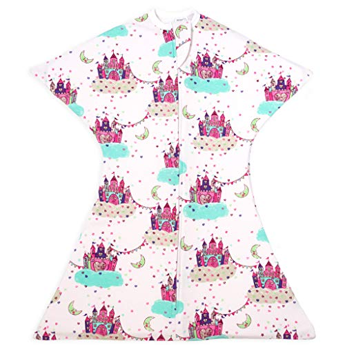 SleepingBaby Dream Castle Zipadee-Zip Swaddle Transition Baby Swaddle Blanket with Zipper, Cozy Baby Swaddle Wrap and Baby Sleep Sack (Small 4-8 Months | 12-19 lbs, 25-29 inches | Dream Castle)