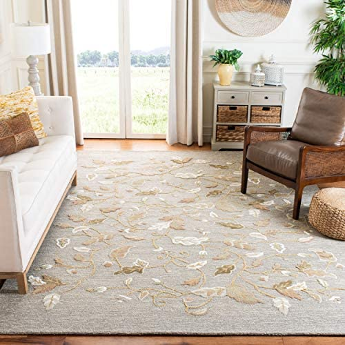 Safavieh Martha Stewart Collection MSR3611D Premium Wool and Viscose Autumn Woods Grey Squirrel Area Rug 5' x 8'
