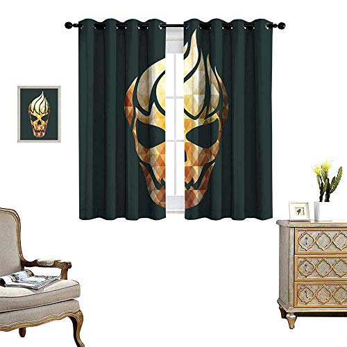 homehot Modern Patterned Drape for Glass Door Gothic Skull with Fractal Effects in Fire Evil Halloween Concept Waterproof Window Curtain Yellow Pale Caramel Dark Grey